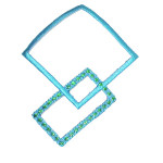 Iron On Patch Applique - Decorative Squares Turquoise