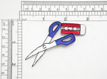 """Scissors Blue Iron On Patch Applique    Fully Embroidered Measures 3"""" high x 1 1/2"""" wide approximately"""