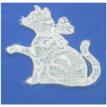 Iron On Venise Lace Applique - Cat