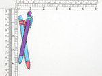 """Pens Purple and Blue Iron On Patch Applique   Fully Embroidered  Measures 4 1/4 high x 1"""" wide approximately"""