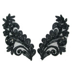 Collar Appliques Beaded L & R Black