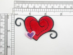 Velvet Heart Patch with Small Heart Embroidered Iron On Applique