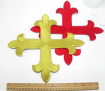 "Iron On Embroidered Applique Patch - Equal Latin Cross 12"" x 12"" (304mm) approx"