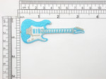 Electric Guitar Patch Embroidered Iron On Applique Turquoise