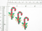 "3 x Candy Cane Embroidered Iron On Patch Applique Fully Embroidered in Rayon and Metallic Thread Measures 7/8"" across  1 7/16"" high approximately"