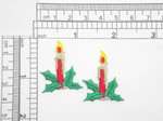 """2 x Christmas Candle Embroidered Iron On Patch Applique  Fully Embroidered with Metallic and Rayon Thread Measures 1"""" across x 1 1/4"""" high approximately"""