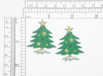 """Christmas Tree with Stars Iron On Patch Applique  Embroidered in Rayon and Metallic Thread on a Felt Backing  Measures 1 1/8"""" across  1 7/16"""" high approximately"""