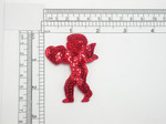 "Cupid Red Sequin Facing Iron On Patch Applique 1 15/16"" x 2 1/2"""