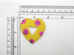 "Flower Heart Patch 1  7/8"" Embroidered Iron On Applique"