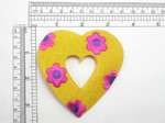 "Flower Heart Patch 3 3/8"" Embroidered Iron On Applique"
