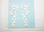 White Swirl Patch Iron On Embroidered Applique - Large Decorative Pair