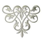 Decorative Swirl Metallic Silver Iron On Patch Applique