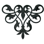 Decorative Swirl Black Iron On Patch Applique