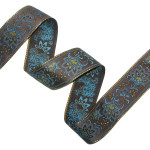 "Jacquard Ribbon 2 1/8"" Brown Turquoise & Metallic Gold Floral"