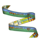 "Dog Agility Jacquard Ribbon 1"" Green & Blue"