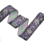 "Jacquard Ribbon 2 1/8"" Purple & Metallic Gold Floral"