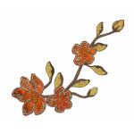 Iron On Patch Applique - Brocade Flower Spray Rust