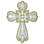 "Iron On Patch Applique - Sacred Heart Cross 3 7/8"" high White"