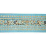 """Jacquard Ribbon 3"""" Sari Border Metallic Birds BLUE"""
