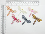 "Dragonfly Patch with Studs Embroidered Iron On Applique 1 1/2"" x 2 1/8"""