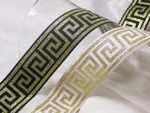 "Jacquard Ribbon 1 9/16"" Metallic Gold & Black Greek Key Per Yard"