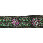 "Jacquard Ribbon 1 1/4"" Metallic Floral Green"