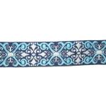 "Jacquard Ribbon 1"" Renaissance Style Dark Blue"