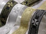 "Jacquard Ribbon 1 1/4"" Metallic Maltese Cross *Colors*"