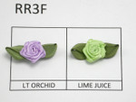 Flat Satin Ribbon Roses with Leaf Pack 24