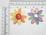"""Mirrored Flower Applique Iron On Patch Orange or Multi   Non Glass Mirror Measures 2 1/8"""" across x  2 1/8"""" high approximately"""