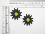 "2 x Daisy Black & Yellow 12 Petal Iron On Patch Applique  Measures 1 1/2""   Measures 1 1/2"" high x  1 1/2"" wide  Fully Embroidered"