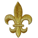 """Iron On Patch Applique - Fleur De Lys 2 1/2"""" METALLIC GOLD"""