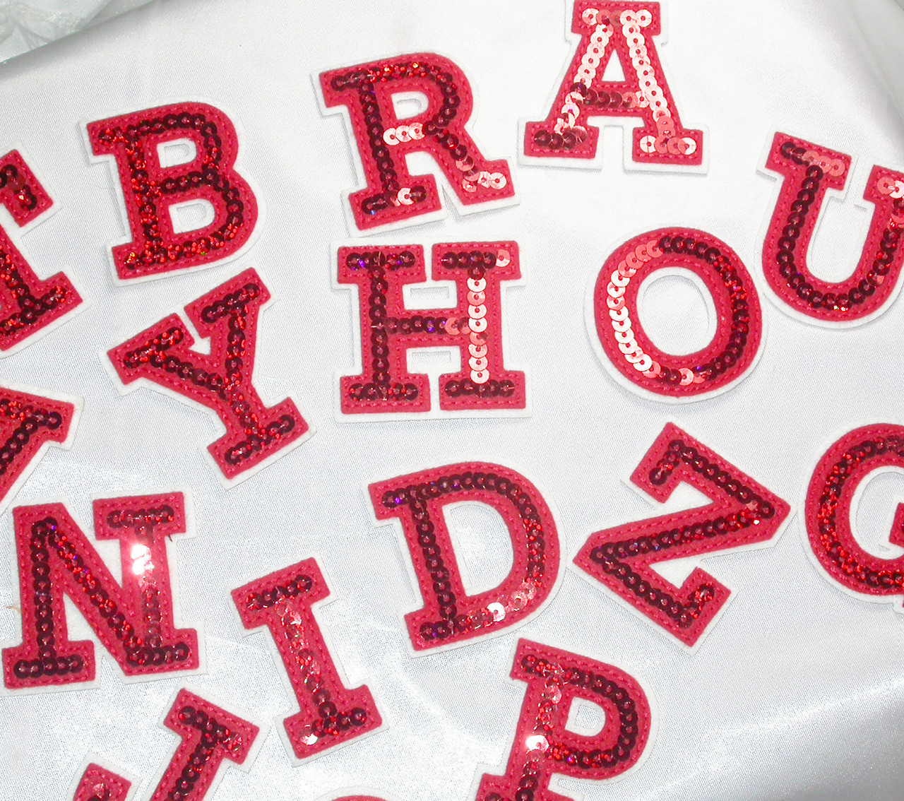 """LETTERS Iron On Embroidered Applique Silver  Sequin  2/"""" Letter /""""O/"""""""