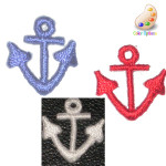 Iron On Patch Applique - Anchor Mini White