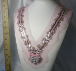 Yoke Applique Beaded on Sheer Pink