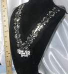 Yoke Applique Beaded on Sheer Black