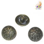 "Button 3/4"" Antique Finish Spirals Domed Silver Per Piece"