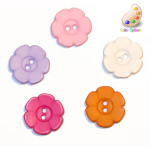 "Button 5/8"" Flat Flower 2 Hole *Colors* Per Piece"
