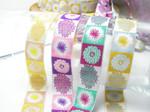"Jacquard Ribbon 1"" (25mm) Blooming Blocks 9 mtrs  100% Polyester"