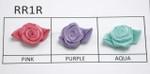 Satin Ribbon Roses w Same Color Leaf   24 Pack
