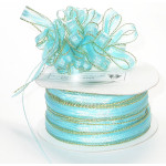 """Pull A Bow 3/8"""" Ribbon 50 Yard Roll Turquoise"""