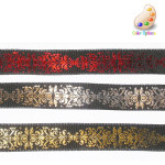 "Wired Ribbon 1"" Hot Foil on Black Red Per Yard"