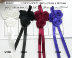 "Ribbon Rose on Bow Triple Flat Rose - 6 pack 1 7/8"" X 5"" (48mm x 127mm)"