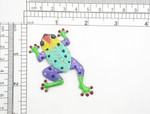 """Frog Colorful Patch Iron On Embroidered Applique Multi 2 1/2"""" x 1 5/8""""   Fully Embroidered  Measures 2 1/2"""" across x 1 5/8"""" high approximately"""