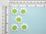 """5 x Daisy Flower 15/16"""" White Green Iron On Patch Applique  Measure 15/16"""" across"""