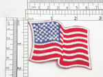 "American Flag USA Iron On Patch Applique    Embroidered with rayon Threads on a Red Twill Backing   Measures 2 1/2"" across by 1 3/4"" high"