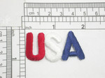"USA Iron On Patch Applique Red White Blue Fully Embroidered in Red White & Blue Measures 1 7/8"" long x 1 1 /16"" high"