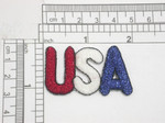 "USA Iron On Patch Applique Red White Blue Metallic Fully Embroidered in Red White & Blue Metallic Thread Measures 1 7/8"" long x 1 1 /16"" high"