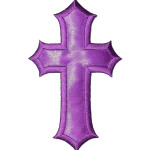 "3"" x 5"" Cross Large Satin PURPLE Iron On Patch Applique   Embroidered Border on a Sateen Backing"