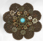 Sew On Crochet Applique Beaded Brown 3 1/8""